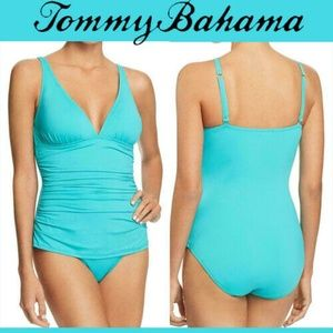 Tommy Bahama Pearl Solids One Piece Swimsuit Blue